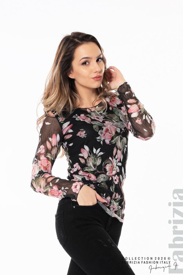 Блуза от тюл с флорален принт черен 4 fabrizia