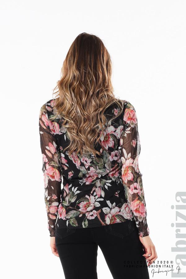 Блуза от тюл с флорален принт черен 5 fabrizia