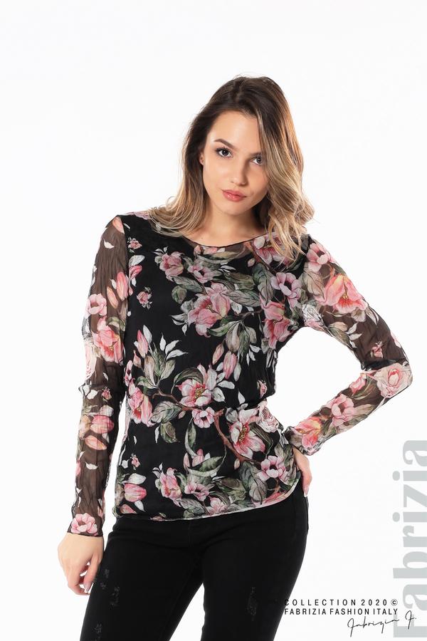 Блуза от тюл с флорален принт черен 2 fabrizia