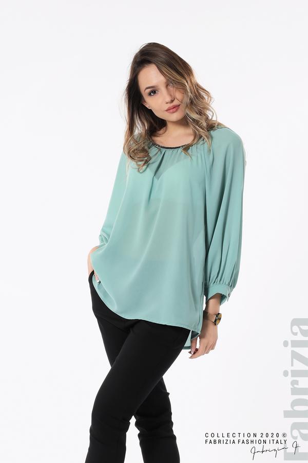 Блуза с акцент на деколтето пепел от бл.зелен 4 fabrizia