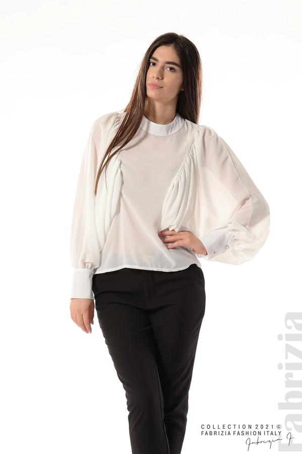 Ефирна блуза с набрани ръкави бял 2 fabrizia