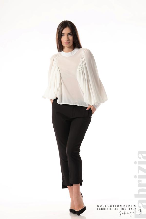 Ефирна блуза с набрани ръкави бял 3 fabrizia