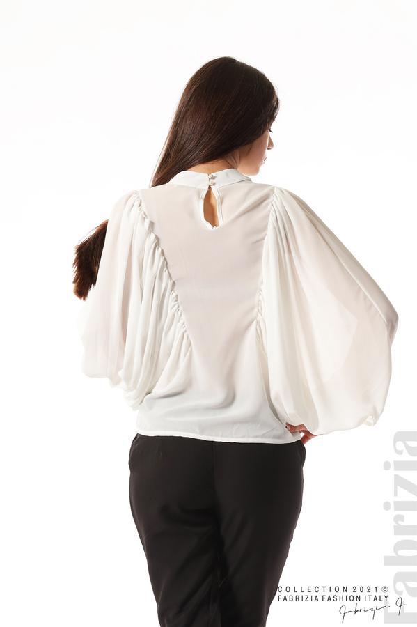 Ефирна блуза с набрани ръкави бял 6 fabrizia