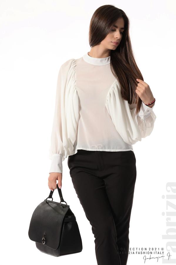 Ефирна блуза с набрани ръкави бял 4 fabrizia