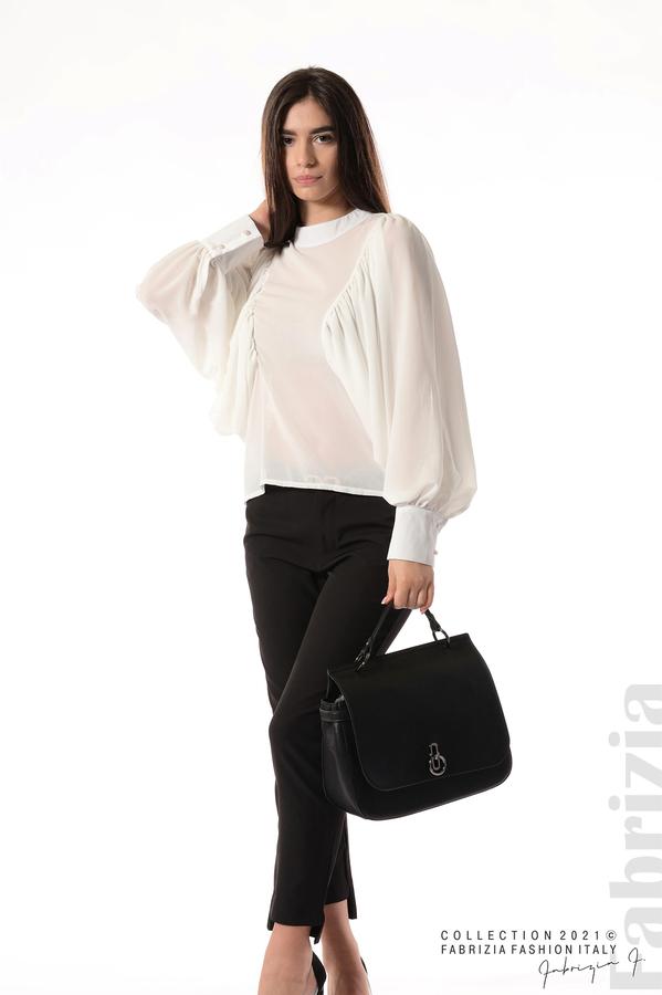 Ефирна блуза с набрани ръкави бял 5 fabrizia