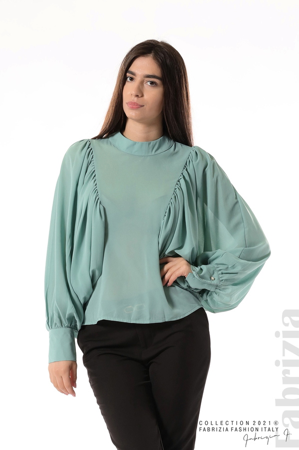 Ефирна блуза с набрани ръкави бл.зелен 1 fabrizia