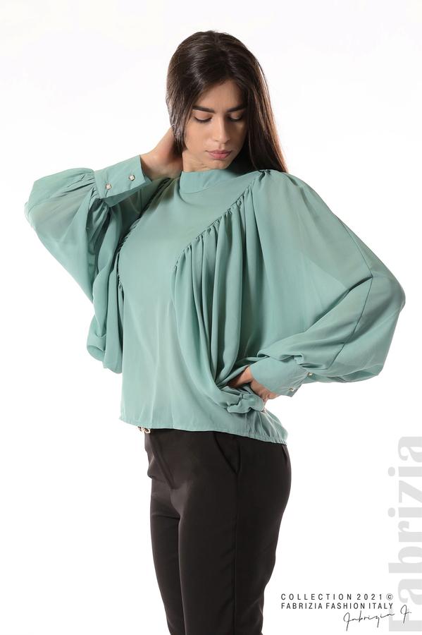 Ефирна блуза с набрани ръкави бл.зелен 4 fabrizia