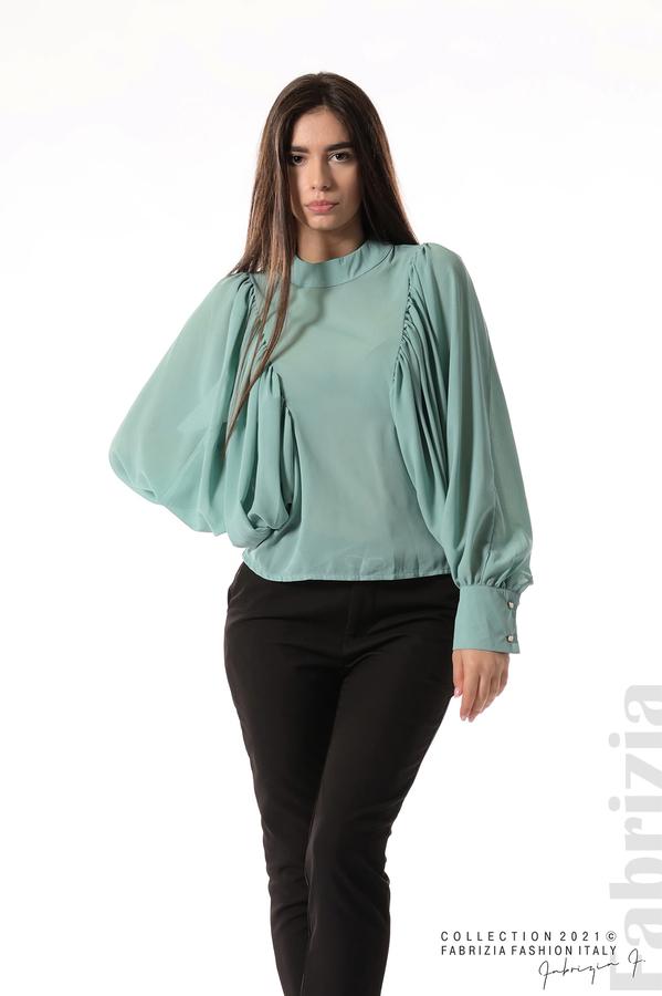 Ефирна блуза с набрани ръкави бл.зелен 3 fabrizia