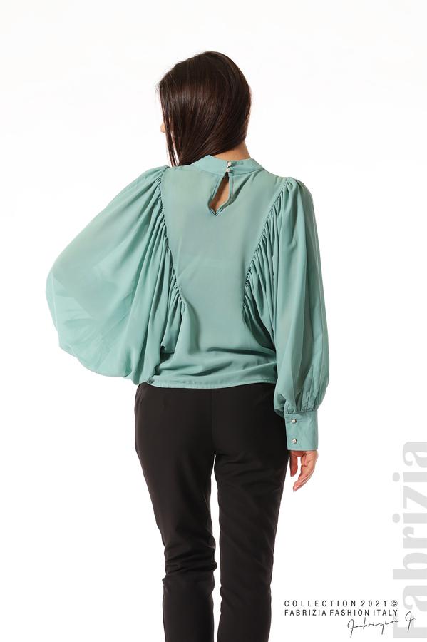 Ефирна блуза с набрани ръкави бл.зелен 6 fabrizia