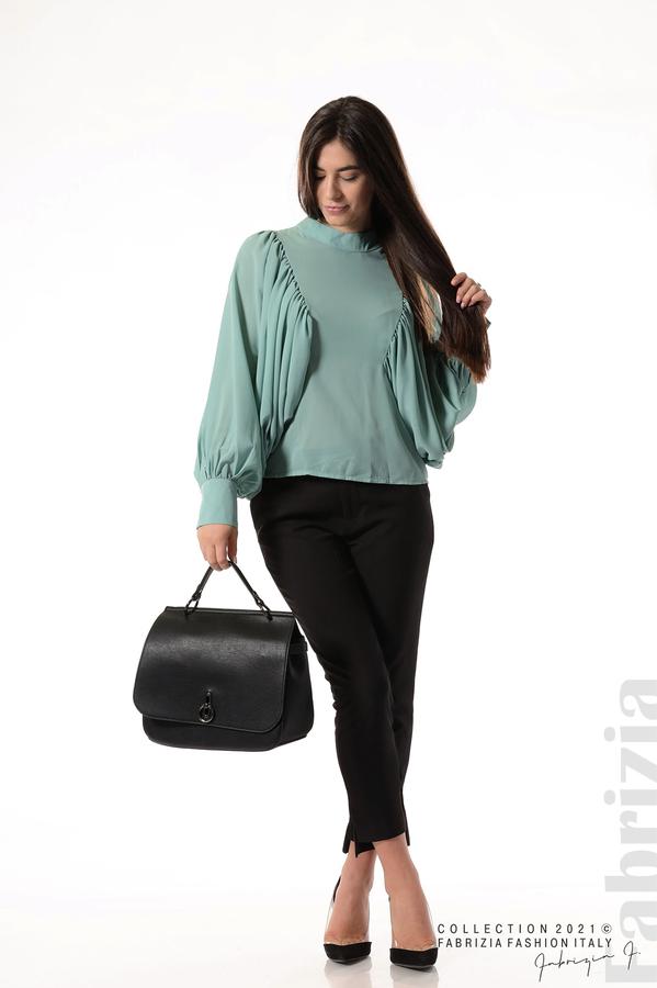 Ефирна блуза с набрани ръкави бл.зелен 5 fabrizia