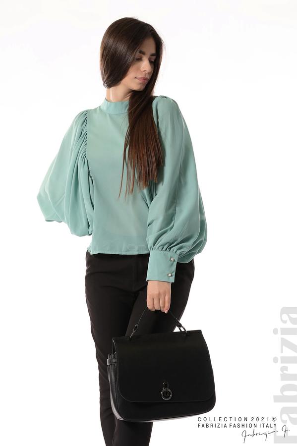 Ефирна блуза с набрани ръкави бл.зелен 2 fabrizia