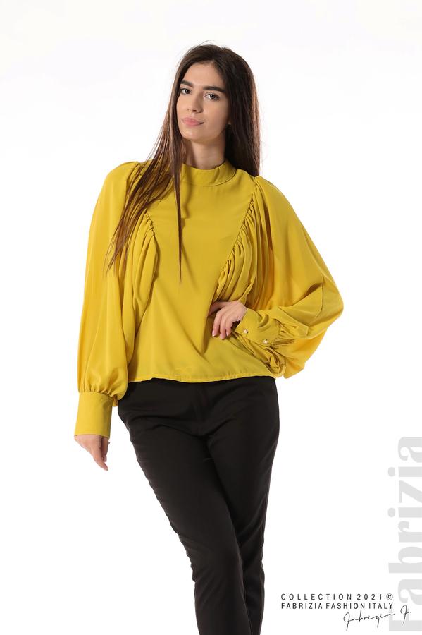 Ефирна блуза с набрани ръкави жълт 1 fabrizia