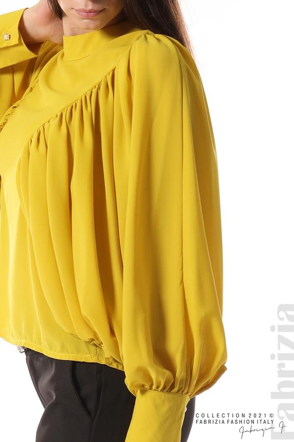 Ефирна блуза с набрани ръкави жълт 2 fabrizia