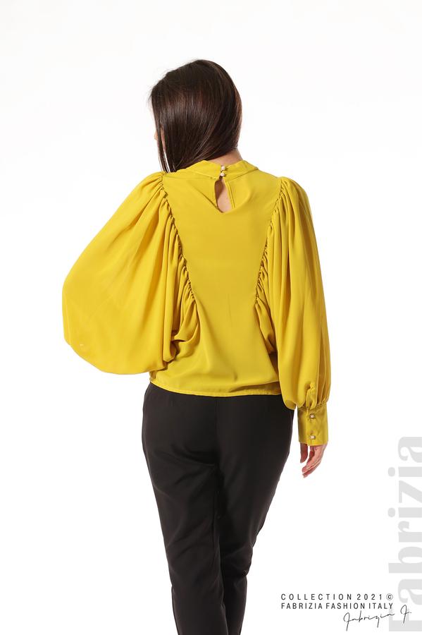 Ефирна блуза с набрани ръкави жълт 7 fabrizia