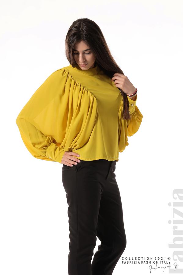 Ефирна блуза с набрани ръкави жълт 5 fabrizia