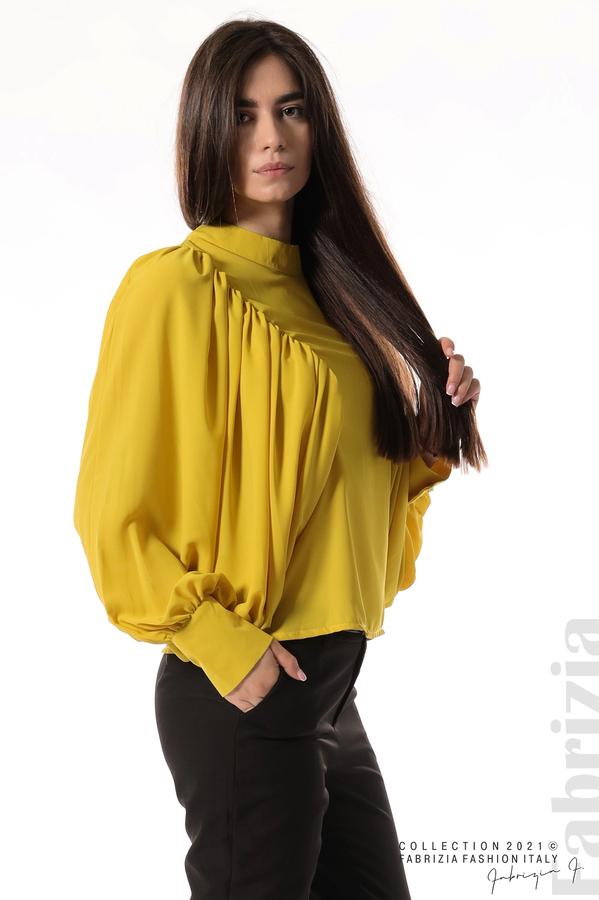 Ефирна блуза с набрани ръкави жълт 3 fabrizia