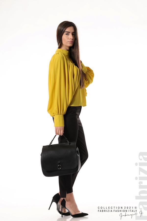 Ефирна блуза с набрани ръкави жълт 6 fabrizia