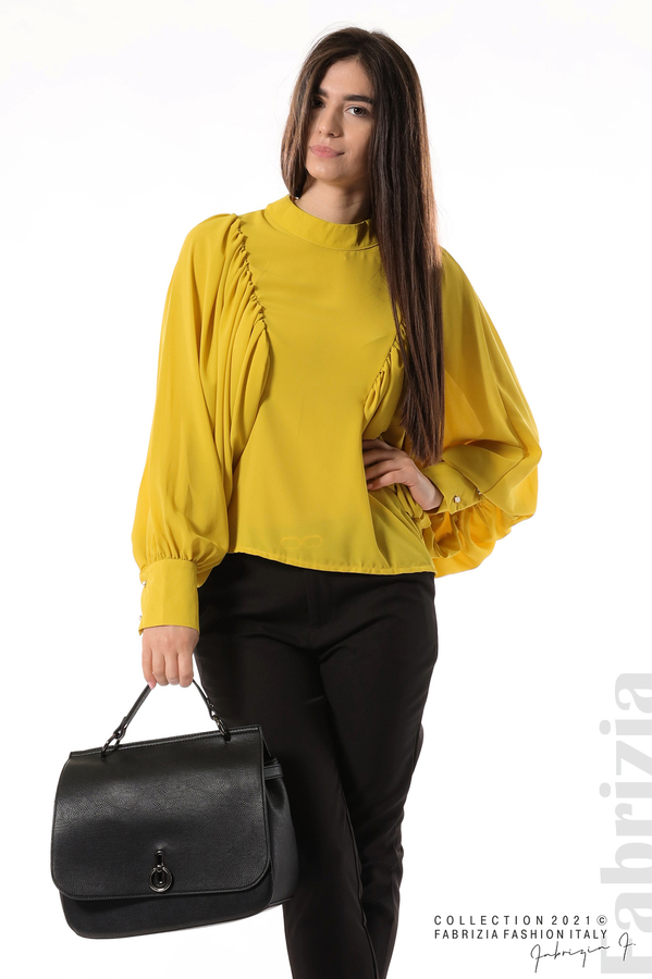Ефирна блуза с набрани ръкави жълт 4 fabrizia