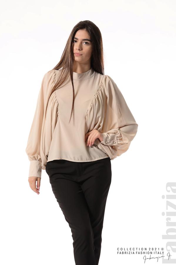 Ефирна блуза с набрани ръкави бежов 2 fabrizia