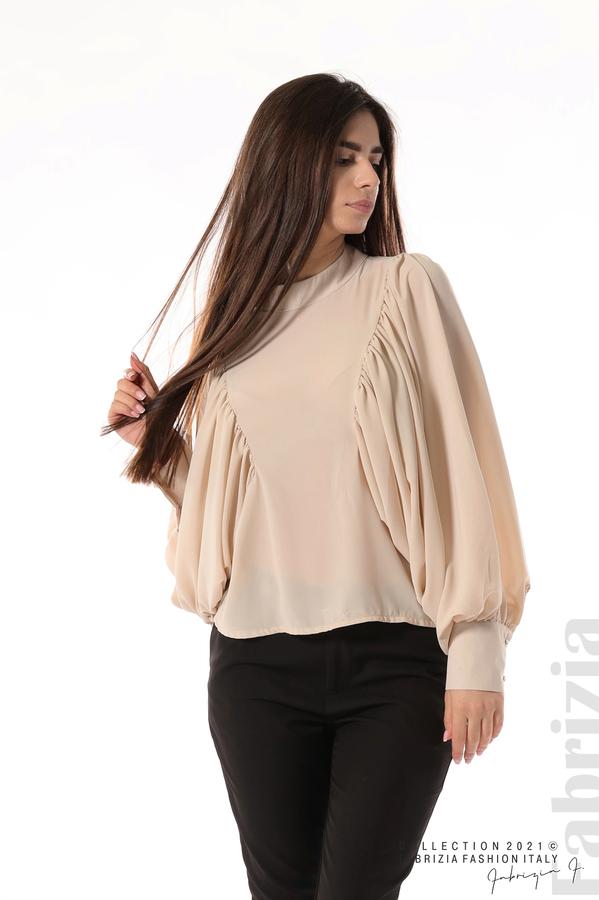 Ефирна блуза с набрани ръкави бежов 1 fabrizia