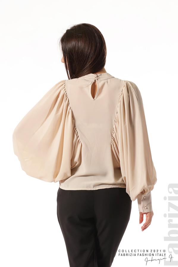 Ефирна блуза с набрани ръкави бежов 6 fabrizia