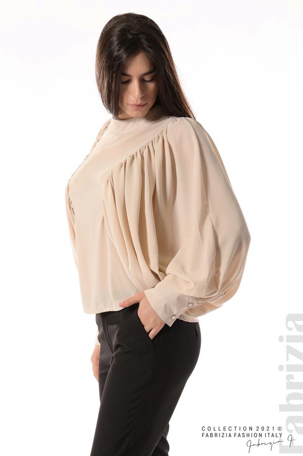 Ефирна блуза с набрани ръкави бежов 4 fabrizia