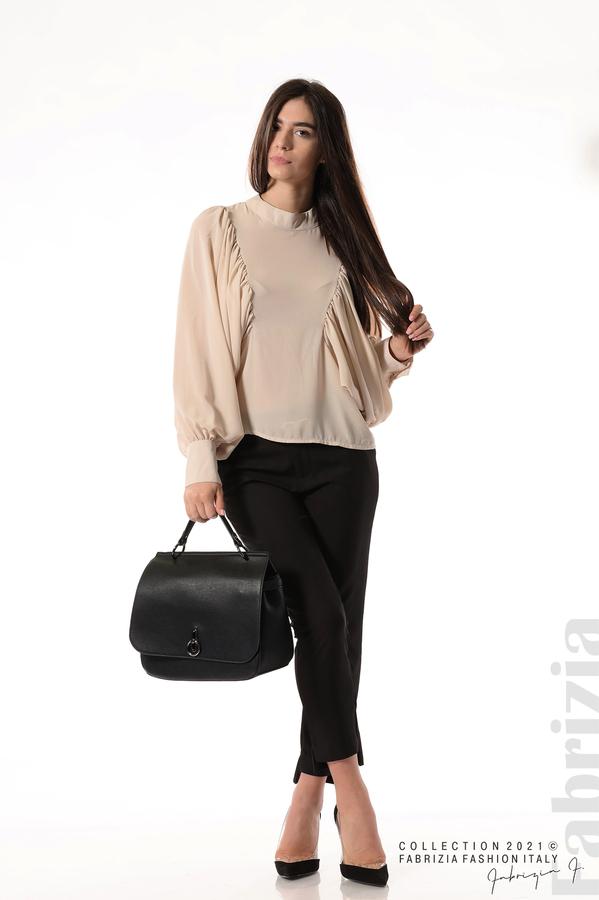 Ефирна блуза с набрани ръкави бежов 5 fabrizia