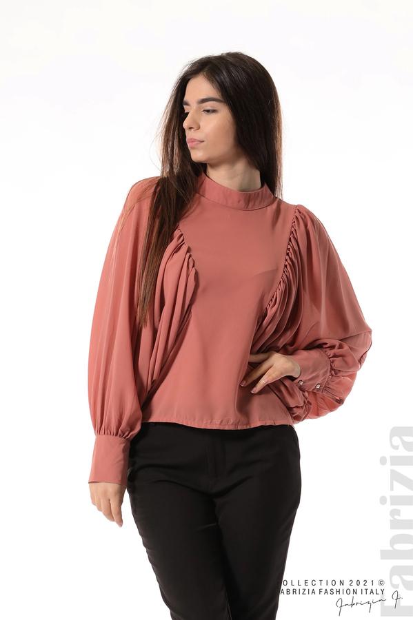 Ефирна блуза с набрани ръкави корал 1 fabrizia