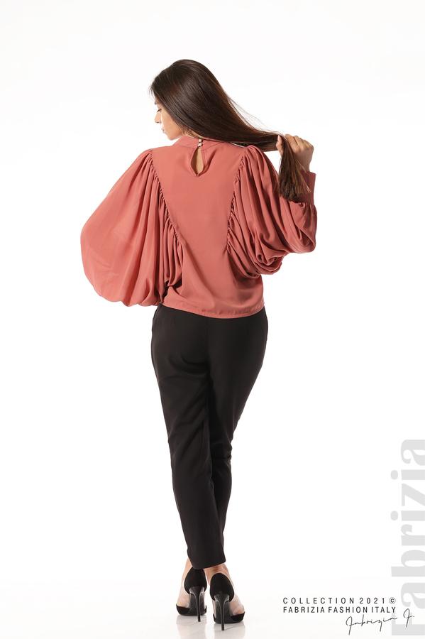 Ефирна блуза с набрани ръкави корал 5 fabrizia