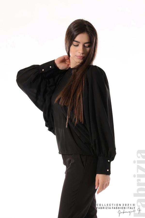 Ефирна блуза с набрани ръкави черен 3 fabrizia
