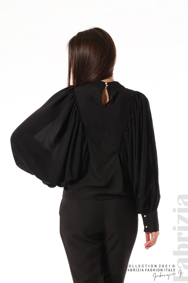 Ефирна блуза с набрани ръкави черен 6 fabrizia