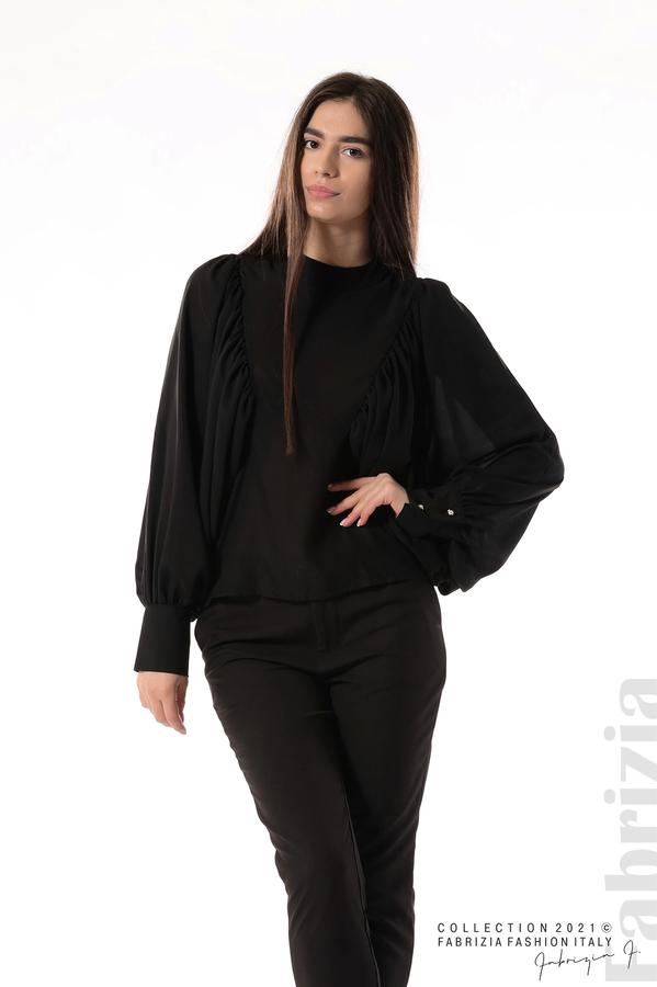 Ефирна блуза с набрани ръкави черен 1 fabrizia