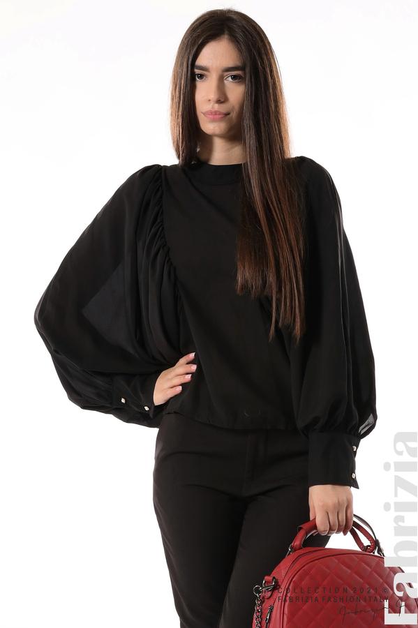 Ефирна блуза с набрани ръкави черен 2 fabrizia