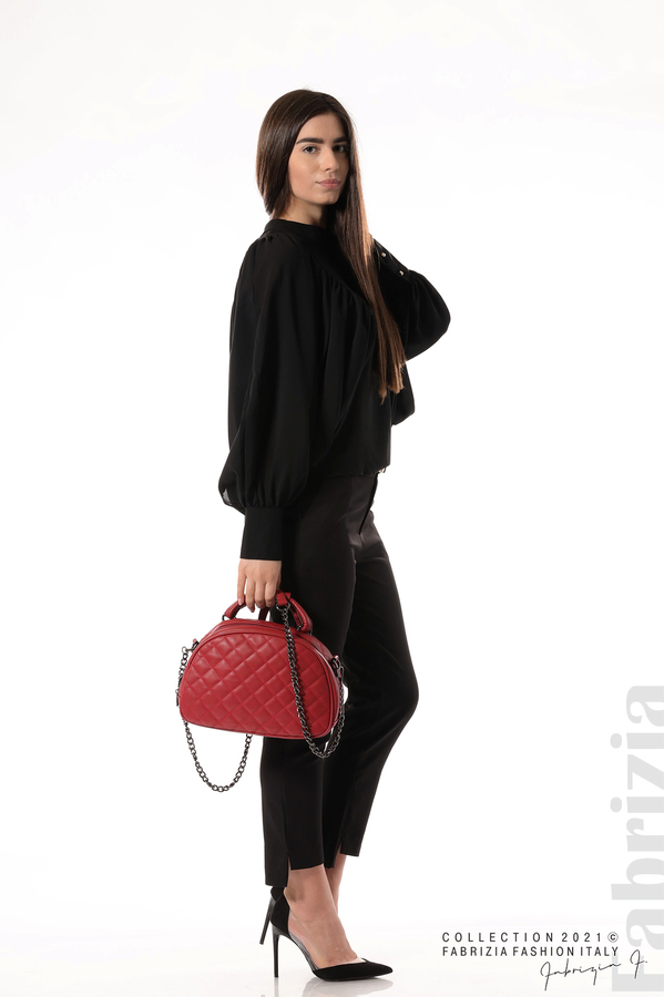 Ефирна блуза с набрани ръкави черен 5 fabrizia
