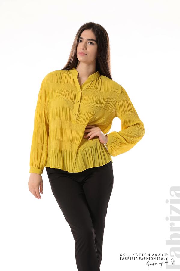 Ефирна блуза със свободен силует жълт 2 fabrizia