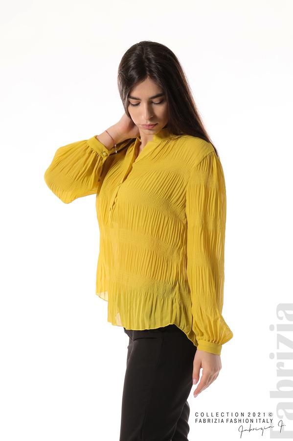 Ефирна блуза със свободен силует жълт 4 fabrizia