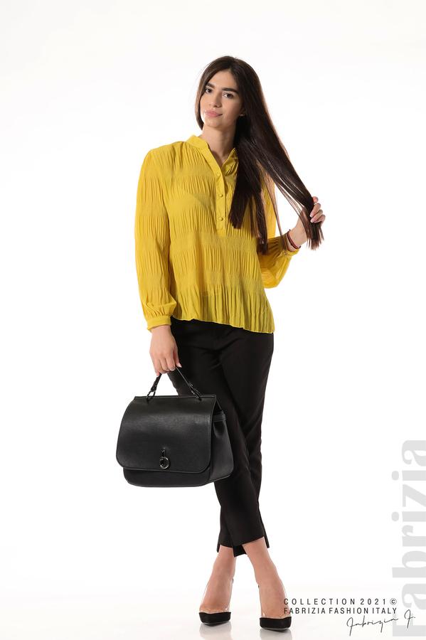 Ефирна блуза със свободен силует жълт 5 fabrizia