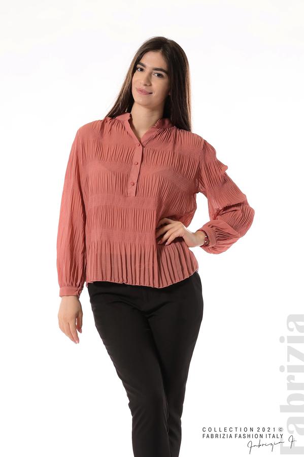 Ефирна блуза със свободен силует корал 1 fabrizia
