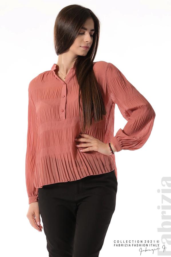 Ефирна блуза със свободен силует корал 2 fabrizia