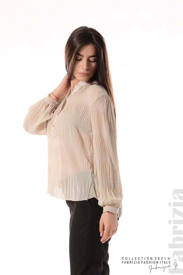 Ефирна блуза със свободен силует бежов 5 fabrizia