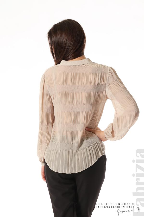 Ефирна блуза със свободен силует бежов 6 fabrizia