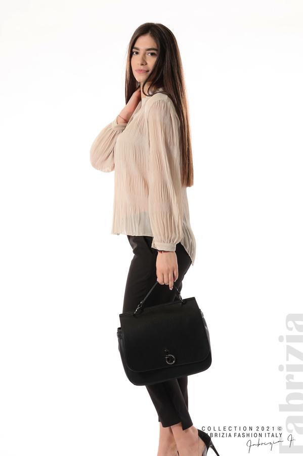 Ефирна блуза със свободен силует бежов 1 fabrizia