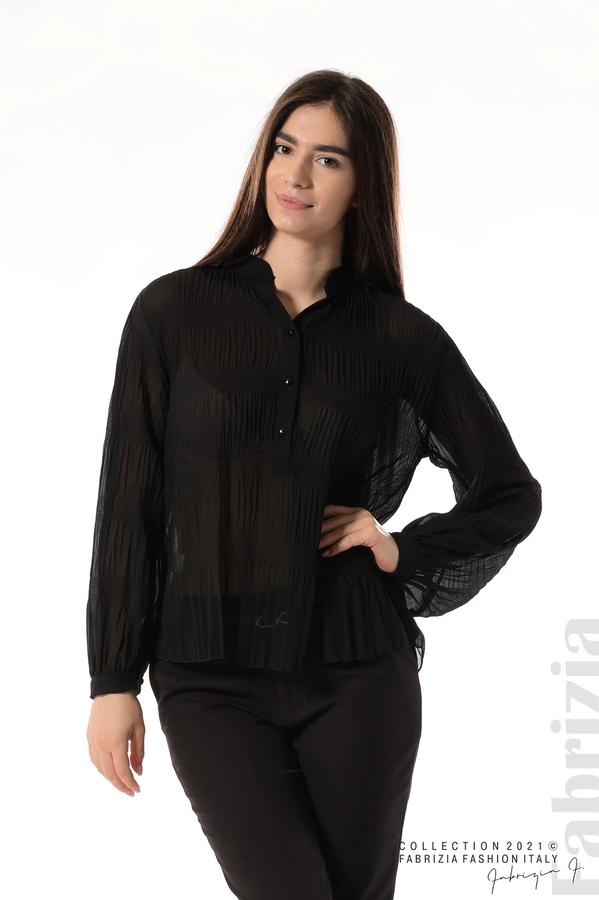 Ефирна блуза със свободен силует черен 1 fabrizia