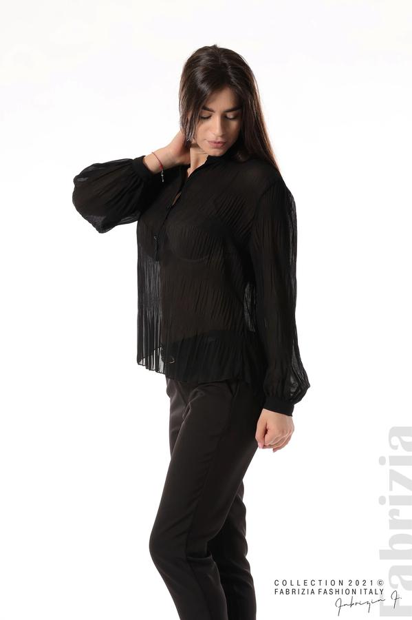 Ефирна блуза със свободен силует черен 4 fabrizia