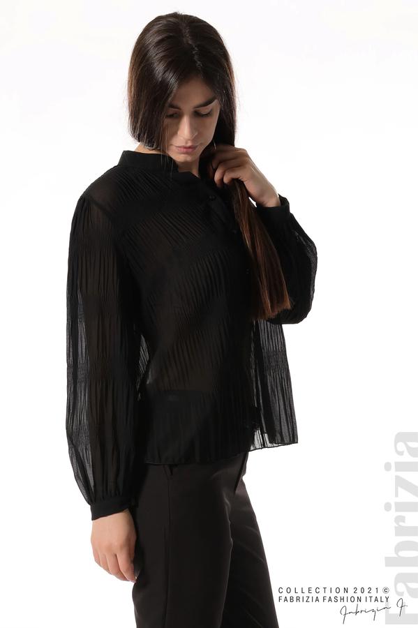 Ефирна блуза със свободен силует черен 2 fabrizia