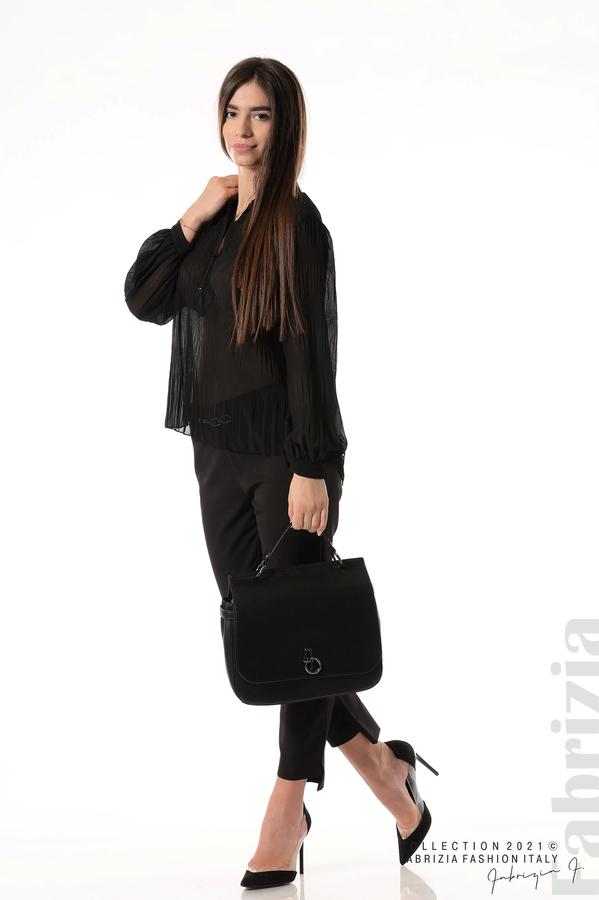 Ефирна блуза със свободен силует черен 5 fabrizia