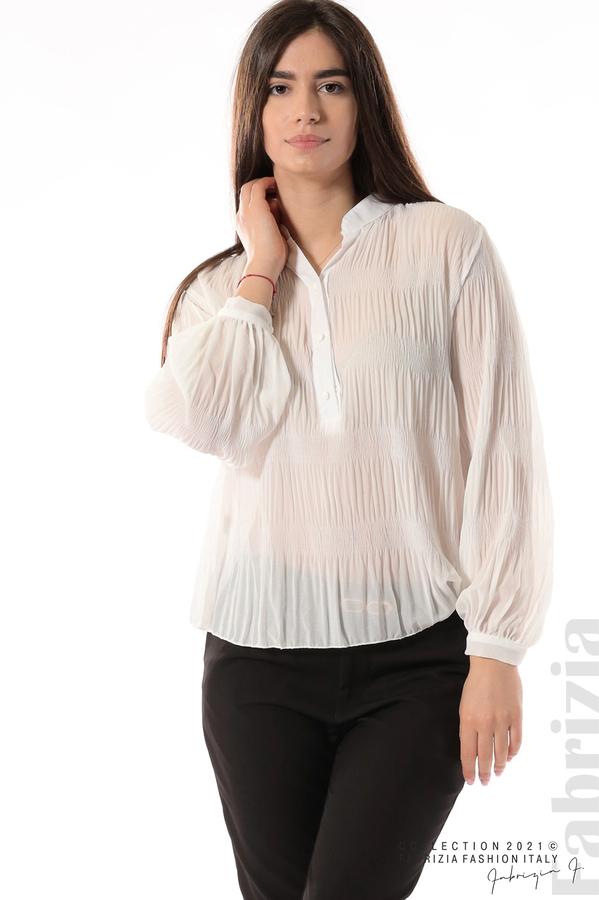 Ефирна блуза със свободен силует бял 2 fabrizia