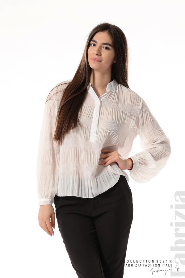 Ефирна блуза със свободен силует бял 1 fabrizia
