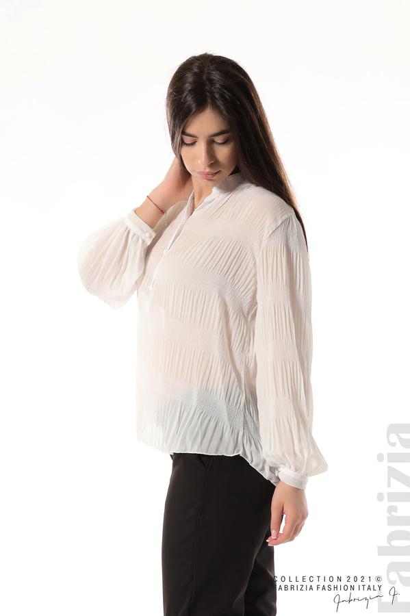 Ефирна блуза със свободен силует бял 4 fabrizia