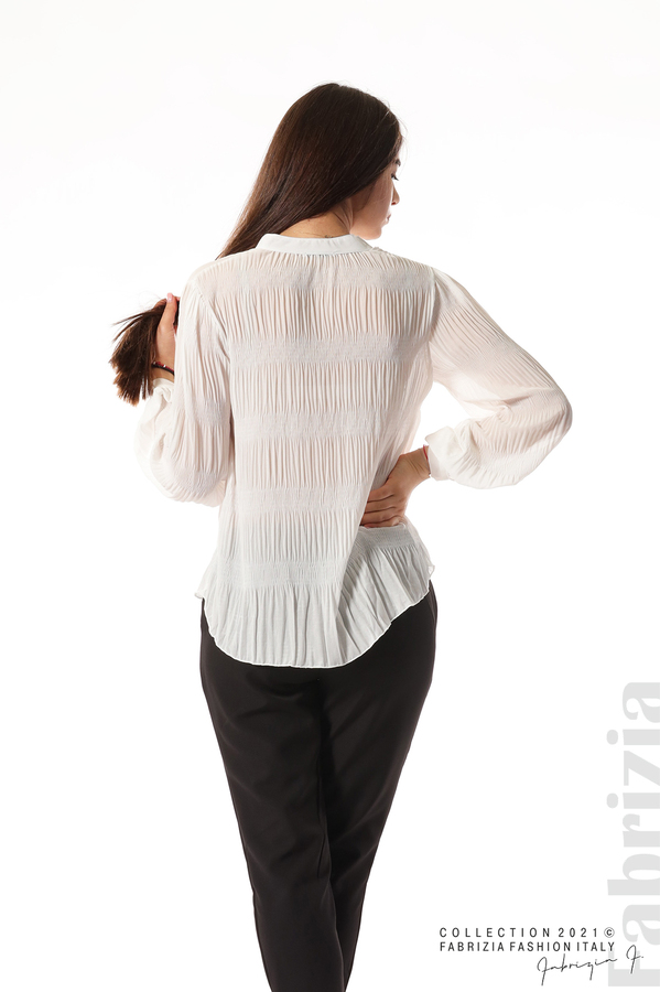 Ефирна блуза със свободен силует бял 6 fabrizia